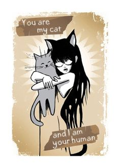 Chat carte tu es mon chat et je suis ton humain