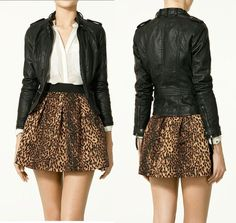 Leopard skirt + long-sleeve blouse + black leather jacket