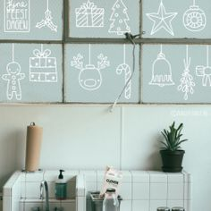 Kerst decoratie raamtekening