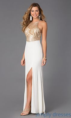Sleeveless Floor Length Dress with Sequin Embellished Bodice at SimplyDresses.com