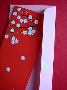 Lin Handmade Greetings Card: Falling Cherry Blossoms....