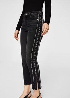 Skinny-fit High-rise Distressed black Decorative panels Fringe trim Side slits Belt loops Five pockets Zip and button Diy Jeans, Women's Jeans, Denim Fashion, Fashion Pants, Fashion Outfits, Custom Clothes, Diy Clothes, Jean Diy, Girls Jeans