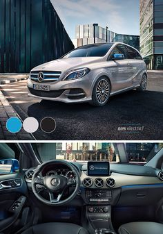 The Mercedes-Benz B-Class Electric Drive has a dynamic design, a high-quality interior, and a high-torque electric motor for locally zero-emission driving. A combination of steel blue, smooth gray, and dark gray come together to make this vehicle stand out. [Mercedes-Benz B 250 e   combined CO2 emission 0 l/100km   power consumption weighted 17.9-16.6 kWh/100 km   http://mb4.me/efficiency_statement]
