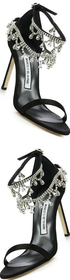 Manolo Blahnik Hourista Draped Crystal & Satin Sandals