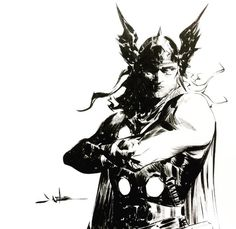 Thor  -jaeleeart Comic Book Artists, Comic Book Characters, Comic Artist, Marvel Characters, Comic Character, Comic Books Art, Akira, Jae Lee, Nordic Tattoo