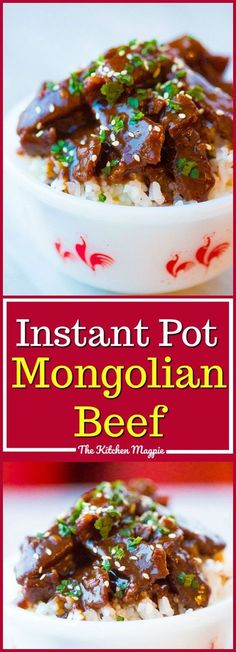 PF Chang's Copycat Instant Pot Mongolian Beef. Recipe from @kitchenmagpie. #mongolianbeef #rice #instantpot #recipes #recipe #beef