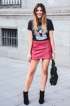 """Indiana (trendy taste """" looks) - annie peterson шкафы мечты Red Leather Mini Skirt, Red Mini Skirt, Mini Skirts, Casual Brunch Outfit, Casual Outfits, Grunge Outfits, Skirt Fashion, Fashion Outfits, Womens Fashion"""