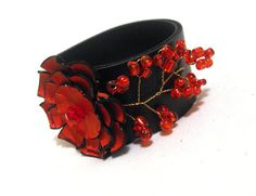 Black red elegant leather bracelet by julishland on Etsy, $14.00