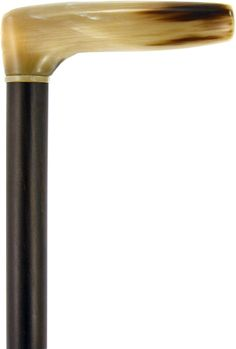 Lowest Price on L Shape Blonde Horn Derby Walking Cane With Ebony Wood Shaft And Brass Collar.