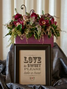 love is sweet and so is this wedding decor! see more adorable floral designs from Alicia Jayne here http://www.weddingchicks.com/vendor-guide/alicia-jayne-florals/