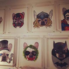 French Bulldog Paintings as Super Hero's & Villains, by pie8k. Pop art,