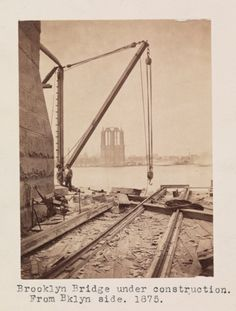 Brooklyn Bridge under Construction. Museum of the City of New York. Brooklyn Image, Brooklyn New York, Brooklyn Bridge, New York City, Bridge Construction, Under Construction, City Hall Nyc, Good Old Times, Vintage New York