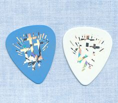 Christian crosses Easter 2 guitar picks 1 white 1 blue #GuitarPicks