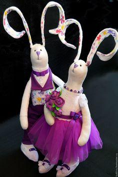 Купить Тильда-заяц - тёмно-фиолетовый, тильда заяц, тильда, тильда кукла…