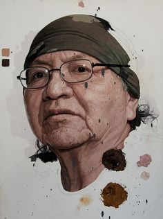 Colin Chillag {contemporary figurative realism female head elderly woman face portrait intentionally unfinished painting} colin-chillag.com