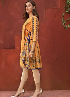 Fabric: Noil Net embroidered Center panel with cut work and Block Printed side and Back panels complements with waist tie up tassels and dangling Dresses Elegant, Stylish Dresses For Girls, Stylish Dress Designs, Designs For Dresses, Casual Summer Dresses, Summer Suits, Simple Dresses, Pakistani Formal Dresses, Pakistani Fashion Casual
