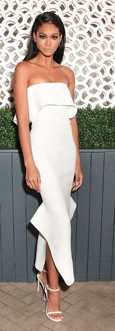 Chanel Iman in Toni Maticevski attends the Vogue Magazine and Stuart Weitzman party in NYC. #bestdressed