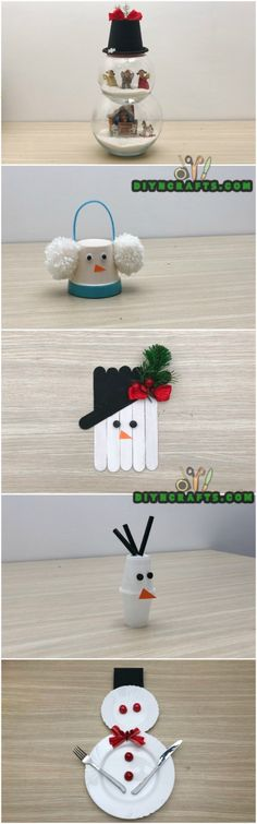 5 Creative Snowman Crafts You Can DO In Under Three Minutes via @vanessacrafting