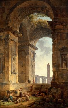 Paintings by Hubert Robert - Ruins with an obelisk in the distance