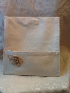 Clutch purse, tablet bag, beige with burlap flower & 2 exterior pockets for phone and keys  clutchpurse@yahoo.com