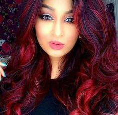 Pink-Red with Yellow Highlights - 20 Cool Styles with Bright Red Hair Color (Updated for - The Trending Hairstyle Bright Red Highlights, Bright Red Hair, Dark Red Hair, Hair Color Dark, Cool Hair Color, Brown Hair, Color Red, Magenta Red Hair, Rojo Color