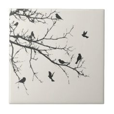 black and white tile design images   Birds in Black and White Ceramic Tiles