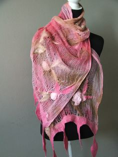 Nuno Felted Shawl wrap OOAK Wearable Art  Summer