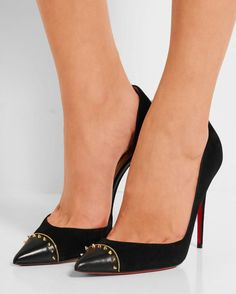 CHRISTIAN LOUBOUTIN Culturella 100 Embellished Suede and Leather Pumps - Shoes Post