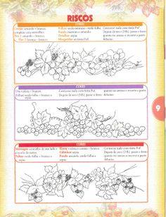 Pintura Tecido Barrados Flores Cerejas Uvas Morangos