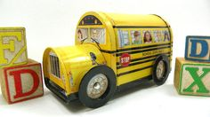 Vintage Yellow School Bus Tin with Rolling by ChaseyblueVintage