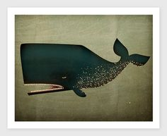 The Barnacle Whale Archival Pigment Print Giclee 9X12 inches SIGNED on Etsy, $39.00