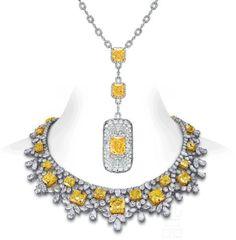 yellow and white diamonds
