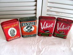 4 Pipe & Cigarette Tobacco Tins /Velvet Tobacco Tin / Sir Walter Raleigh Tin / Prince Albert Tin by VintageLoversShop on Etsy
