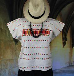 Cream Triqui Huipil Traditional Hand Woven, Oaxaca Mexico Hippie Boho Peasant…