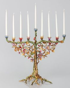 Jay Strongwater Floral and Vine Menorah Made of cast metal. Hand enameled and hand set with Swarovski crystals. Candles not included. Hanukkah Menorah, Christmas Hanukkah, Hannukah, Diy Hanukkah, Jewish Hanukkah, Christmas Stuff, Happy Hanukkah Images, Jewish Crafts, Jewish Art