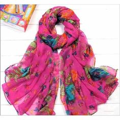 Charlee Cooper Floral Flower Silk Scarf Shawl Stole Wrap
