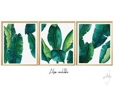3 Set Art Prints, Wall Art Prints, Digital Download, Leafs SET  - 6 Files, Banana leaf print , Leaf printable ,Banana Leaf ,Watercolor Art by PDFdecor on Etsy