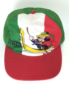 e606216774c8 Mickey Mouse Italy Hat from EPCOT Center - 1982 Vintage Mesh Trucker  Snapback Cap - Mickey Rowing a Gondola