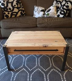 Natural Pallet Coffee Table With Drawer