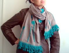 Ravelry: Fabric Scarf with Crocheted Edging and Flowers pattern by faima othman