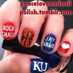 Kansas Jayhawks Nails - Go KU Should have had this done to my nails!