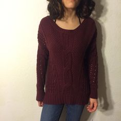 Deep Burgundy Sweater ♥️  Deep burgundy sweater, no wears or tears.                                                                        ❌ No Trades                                                            Bundled Discounts                                             Same/Next Day Shipping Sweaters