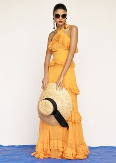 Prabal Gurung Crepe de Chine Tiered Ruffle Gown, Chloe Square Nerine Sunglasses, Eugenia Kim Mirabel Hat, Marni Metal Earrings and Isabel Marant Etoile Leather Jusip Malick Sandals
