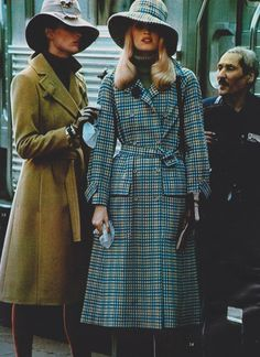 Elle France, September 6 1971.  Photographed by Hans Feurer 70s coat jacket camel tan wrap belt safari floppy hat blue plaid trench models magazine vintage fashion style early