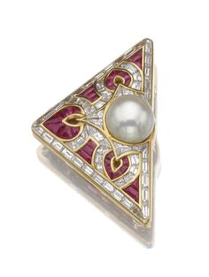 NATURAL PEARL, RUBY AND DIAMOND BROOCH, BULGARI    The triangular brooch applied with a trefoil motif set with a button-shaped natural pearl, calibré-cut rubies, baguette and tapered baguette diamonds, mounted in gold, signed Bulgari, Italian assay marks.