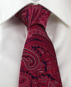 Haddon & Burley Magenta Ornate Paisley Silk Tie