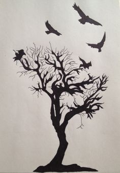 Crow and Tree tattoo by ~SkinnerCody on deviantART