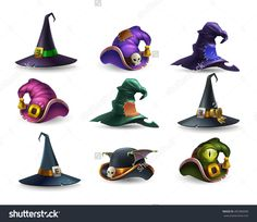 Set of colorful halloween hat and witch cap icons. Vector illustration.