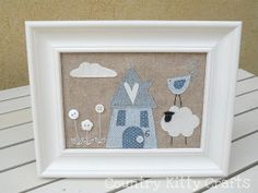 little cute house Baby Crafts, Cute Crafts, Felt Crafts, Free Motion Embroidery, Machine Embroidery Applique, Easy Sewing Projects, Diy Craft Projects, Nursery Canvas, Fabric Pictures