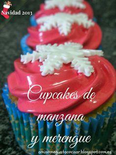 Cupcakes de manzana y merengue, #receta para 6 cupcakes de #Navidad por @aminomegustacoc